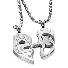 O amor é o eterno Titanium Aço Principais cabeças Casais Colar de diamantes (2PC)