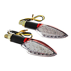 DIY Waterproof 15-LED Turn Signals Yellow Light for Motorcycles Red(DC12-16V 2W 2-Piece)