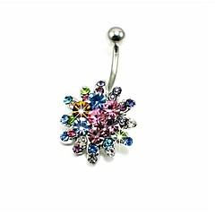 baratos Bijoux de Corps-Cristal Anel de umbigo / Piercing no ventre - Cristal, Imitações de Diamante Flor Luxo Mulheres Bijuteria de Corpo Para Diário / Casual