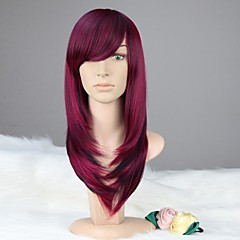 cheap Wigs & Hair Pieces-Synthetic Wig With Bangs Synthetic Hair Purple Wig Women's