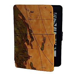 billige Nettbrettetuier-den brune bakgrunnen verdenskartet mønster pu lærveske for Kindle paperwhite