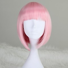 cheap Wigs & Hair Pieces-Synthetic Wig Women's Straight Pink Bob / With Bangs Synthetic Hair 12 inch Pink Wig Short / Medium Length Capless Light Pink