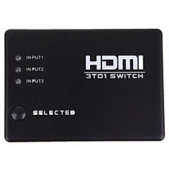 baratos -novos 3 portas caixa de controle remoto amplificador de áudio HDMI splitter switch de vídeo switcher 1080p
