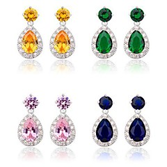 cheap Earrings-Women's Cubic Zirconia Brass Vermeil Drops Jewelry Costume Jewelry