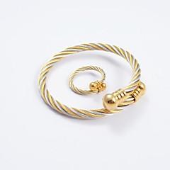 Smykke Sett Mote Titanium Stål Gull/Sølv Ringe Armbånd Til Daglig Avslappet Bryllup gaver