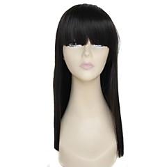 hesapli Peruklar ve Saç Postijleri-Kadın Sentetik Peruklar Siyah Bantlı siyah Peruk Cadılar Bayramı Peruk Karnaval Peruk kostüm Peruk