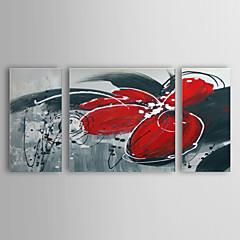 Hånd-malede Abstrakt Tre Paneler Canvas Hang-Painted Oliemaleri For Hjem Dekoration