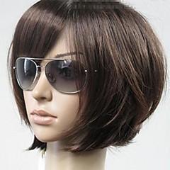 Χαμηλού Κόστους Προσφορά Χαλοουίν-Συνθετικές Περούκες Κούρεμα καρέ / Με αφέλειες Συνθετικά μαλλιά Καφέ Περούκα Γυναικεία Κοντό