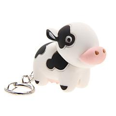 LED-verlichting Sleutelhanger Speeltjes Sleutelhanger LED-verlichting Geluid Cow Cartoon Stuks Kerstmis Verjaardag Kinderdag Geschenk