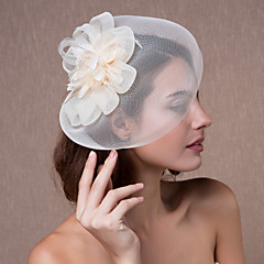 cheap Party Headpieces-Crystal Fabric Organza Tiaras Fascinators Flowers Hats 1 Wedding Party / Evening Headpiece