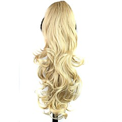 cheap Hair Pieces-claw clip synthetic 25 inch blonde long curly ponytail