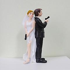 Kakepynt Klassisk Par Artig & Underspillet Harpiks Bryllup Utdrikkingslag Hvit Svart Klassisk Tema Gaveeske