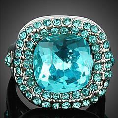 Tyylikkäät sormukset Kristalli Cubic Zirkonia Metalliseos Muoti Ruudun väri Korut Party 1kpl
