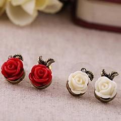 ročník malé plastové růže hliníkové náušnice