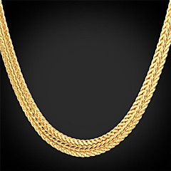U7® Foxtail Chain Necklace 18K Real Gold Plated Vintage Chunky Necklace Fashion Jewelry