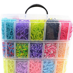 12000pcs Colorful DIY Rainbow Color Loom Style Silicone Band Bracelets 12000pcsBands ,12S-clips, 1 Looms ,1Hook+1Box