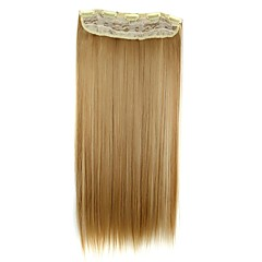 hesapli Peruklar ve Saç Postijleri-5 klipler saç parça ile saç uzatma 24 inç 120g uzun sentetik düz klip