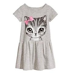 tanie Odzież dla dziewczynek-Sukienka Bawełna Dziewczyny Wiosna Lato Jesień Krótki rękaw Kwiatowy Kreskówka Gray Różowy