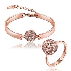 tanie Zestawy biżuterii-Damskie Zestawy biżuterii Mosiądz Cyrkon Kryształ górski Pozłacane Chrom Pokryte różowym złotem Owalne Unikalny Impreza Urodziny Biznes