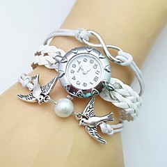 Fashion Handmade Women's Watch Beaded Critters Dove Infinity Leather Weave Band Cool Watches Unique Watches Strap Watch