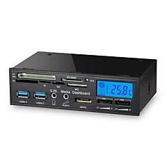 tanie Karty pamięci-5,25 cala 6 w 1 USB 3.0 wielofunkcyjny czytnik multimedialny panel LCD kontroler wentylatora karty dashboard