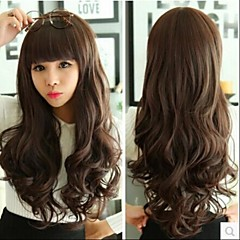 cheap Synthetic Wigs-Angelaicos Womens Modern Design Bangs Curly Wavy Glamour Natural Looking Daily Wear Sexy Wigs Long Brown Black Blonde