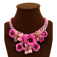 Women's Statement Necklaces Flower Rose Synthetic Gemstones Alloy Festival/Holiday European Statement Jewelry Plaited Jewelry For Party