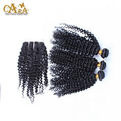 billiga Peruker och hårförlängning-Peruanskt hår Lockigt / Kinky Curly / Curly Weave Äkta hår Hår Inslag med Stängning Hårförlängning av äkta hår Människohår förlängningar