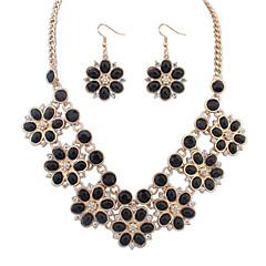 baratos Conjuntos de Bijuteria-Mulheres Conjunto de jóias - Resina Flor Europeu Incluir Rosa claro / Azul Claro / Arco-Íris Para Diário