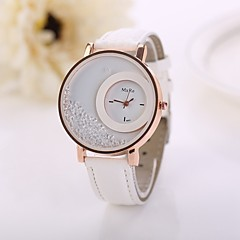 Жен. Модные часы Часы с незакрепленными камнями Кварцевый Имитация Алмазный PU Группа Цветы Белый Красный Розовый Фиолетовый