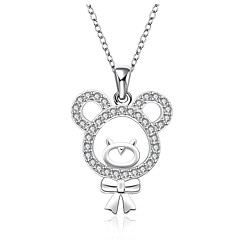 cheap Necklaces-Women's Sterling Silver Cubic Zirconia Rhinestone - Round Single Strand Animal Necklace For Wedding Party Special Occasion Anniversary