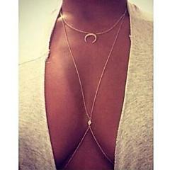 女性 レイヤードネックレス 幾何学形 月 イミテーションダイヤモンド 合金 ファッション 高級ジュエリー コスチュームジュエリー ジュエリー 用途 パーティー 誕生日