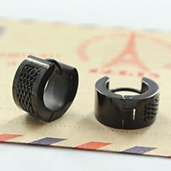 Kolczyki koła Modny Stal nierdzewna Circle Shape Black Silver Biżuteria Na Codzienny Casual Sport 2pcs