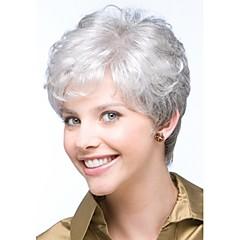 お買い得  人工毛ウィッグ-人工毛ウィッグ カール ピクシーカット バング付き 密度 キャップレス 女性用 白 ナチュラルウィッグ ショート 合成