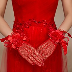 cheap Party Gloves-Cotton Net Wrist Length Elbow Length Glove Charm Stylish Bridal Gloves Party/ Evening Gloves With Embroidery Solid