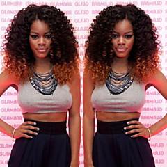 billiga Peruker och hårförlängning-Syntetiska peruker Kinky Curly Nyans Syntetiskt hår Nyans Peruk Spetsfront 2/30 SunnyQueen