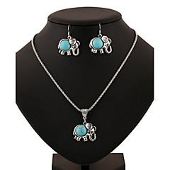 baratos Conjuntos de Bijuteria-Turquesa Conjunto de jóias - Turquesa Elefante, Animal Incluir Verde Para Diário / Casual / Brincos / Colares