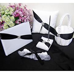 satin negru set carte panglică uest, perna inel, coș de flori fată, jartiera (set 5)