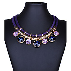 cheap Necklaces-Women's Crystal Bib Statement Necklace - Crystal Statement, Ladies, Vintage, Fashion Purple, Red, Blue Necklace Jewelry For Party, Special Occasion, Birthday, Congratulations, Gift, Valentine