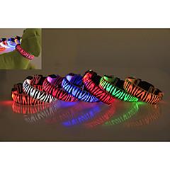 voordelige Hondentrainingshalsbanden-Hond Kraag LED verlichting waterdicht Zebra Nylon Geel Rood Groen Blauw Roze