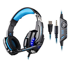 cheap Over-Ear Headphones-KOTION EACH Over Ear Headband Wired Headphones Plastic Gaming Earphone with Volume Control with Microphone Noise-isolating Luminous