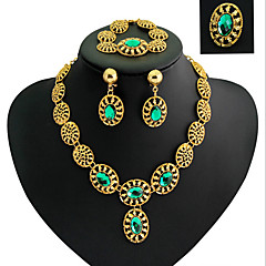 tanie Zestawy biżuterii-Damskie Cyrkonia Pozłacane Imitacja diamentu Biżuteria Ustaw Zawierać Bransoletka Náušnice Naszyjniki Pierścień - Luksusowy Vintage
