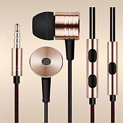 billiga Headsets och hörlurar-I öra Kabel Hörlurar Aluminum Alloy Mobiltelefon Hörlur Med volymkontroll / mikrofon / Ljudisolerande headset