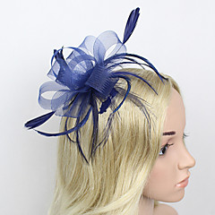 cheap Prom Hair Accessories-Feather Net Fascinators Headwear with Floral 1pc Wedding Special Occasion Headpiece