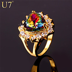 Statement Rings AAA Cubic Zirconia Zircon Cubic Zirconia Fashion Gold Jewelry Party Anniversary Birthday Gift