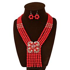 baratos Conjuntos de Bijuteria-Mulheres Zircônia Cubica Conjunto de jóias Brincos Colares - Vintage Festa Trabalho Casual Fashion Europeu Conjunto de Jóias Para