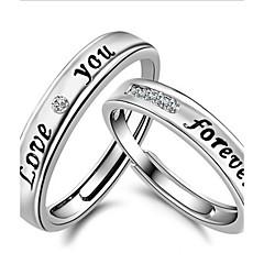 baratos -Mulheres Prata de Lei Cristal Strass Anéis de Casal Anel de banda - Formato Circular Jóias Amor Casamento Prata Anel Para Casamento