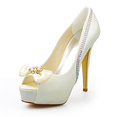 cheap Wedding Shoes-Women's Shoes Stretch Satin Summer Stiletto Heel Crystal for Wedding Dress Party & Evening Ivory