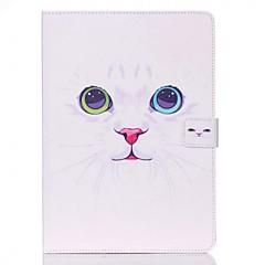 ipad air 2 ipadケース/カバーのための白い猫のパターンスタンドオフ保護ケース