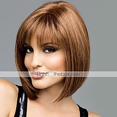 billige Lågløs-Human Hair Capless Parykker Menneskehår Lige Bob frisure Med bangs / pandehår Midterskilning Kort Lågløs Paryk Dame